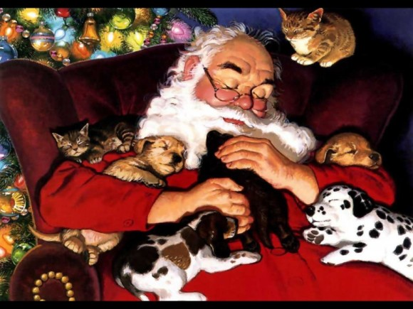 santa_with_cats_and_dogs_sleeping-800x600